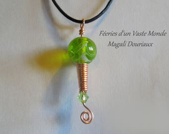 Lampwork Glass Bead pendants essential oil diffusers, copper