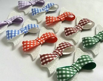 Gingham School Hair Bows, Summer, Checked, Burgundy,Red,Green,Blue,Lilac,Back to School,Glitter  Uk