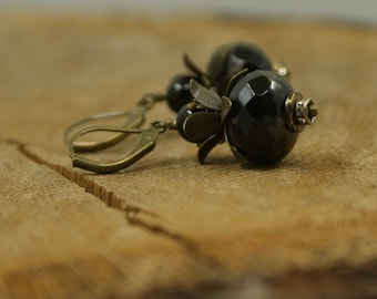 Black crystal and brass earrings