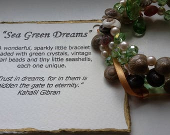 "OOAK Bracelet ~ ""Sea Green Dreams"" ~ Seashells, Green Crystals, Pearl Beads"