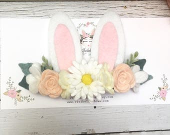 Bunny Ears Headband, Bunny Costume, Bunny Headband , Baby Bunny Ears , Easter Headband, Rabbit Headband, Floral Crown