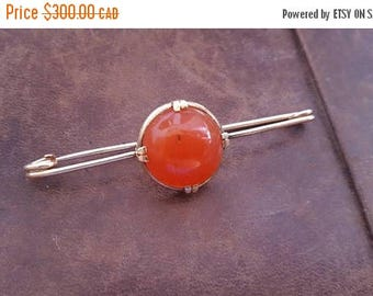 ON SALE Vintage Gold and Carnelian 'Safety Pin' Brooch