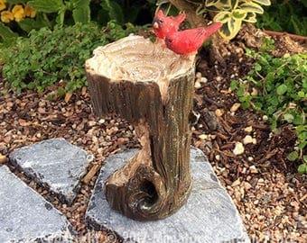 Cardinal Stump Birdbath - miniature enchanted fairy garden