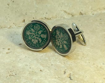 Hand enamelled green 1957 lucky sixpence coin cufflinks  - gift for him