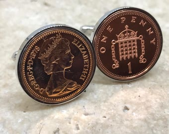 1978 one penny coin cufflinks - 40th birthday gift - Silver plated