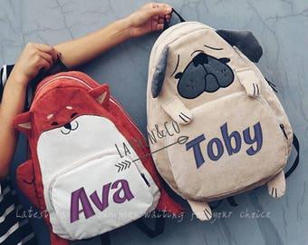 Personalised backpack, pug bag, pug backpack, fox backpack, pug, fox, foxy bag, pug dog, childs bag, adult bag, personalised pug gift, pugs