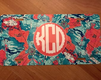 Lilly Inspired Monogrammed License Plate