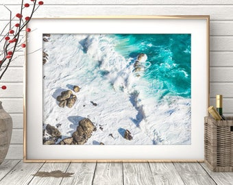 Coastal Wall Art Print, Ocean Water, Waves, Beach Decor, Teal, Turquoise Blue and White Abstract, Large Printable Poster, Digital Download
