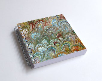 "Notebook 4x4"" decorated with motifs of marbled papers - 38"
