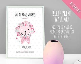 Birth Print Lion Wall Art Announcement | EDITABLE PDF | Instant Digital Download | Original Doodle Design