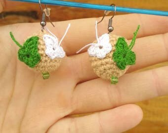 Earrings ball. with butterflies. Free shipping