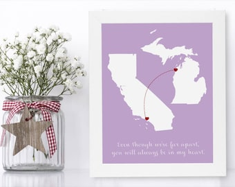 Long Distance Brother Unique Long Distance Gift 2 Map Art Two Map Print Personalized State Country Distance Present Birthday Gifts
