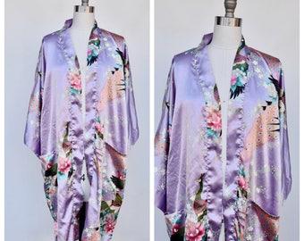 silky asian style PEACOCKS robe / festival robe /