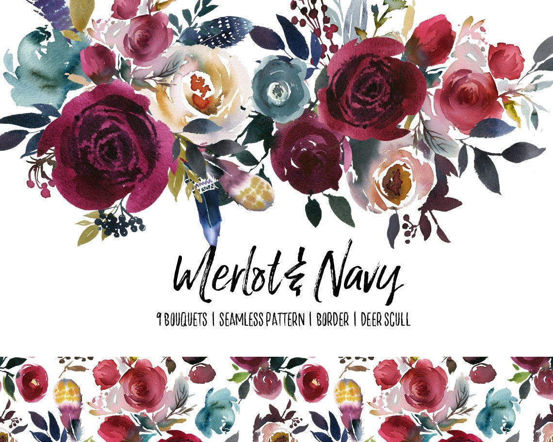 Boho bordo navy watercolor floral clipart burgundy red - High resolution watercolor flowers ...