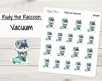 Vacuum | Rudy the Raccoon | Planner Stickers