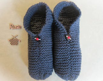 Flat Navy Blue men slippers