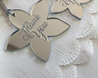 Thank You Flowers - Silver Mirror Flower - Thank you Tag - Wedding Party Favours - Wedding Table -  Bridesmaid Thank You - Keepsake