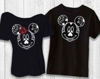 Day of the Dead - Sugar Skulls black - Mickey/Minnie Halloween Disney shirt - Not So Scary