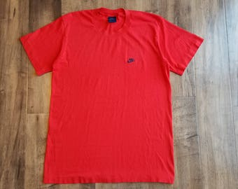 Vintage Nike Short Sleeve T-Shirt 80s Red Cotton Blend Crewneck Tee 50/50 Top