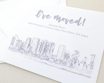 Change of Address - San Diego - San Diego Skyline - Moving Announcements - Grey Outline