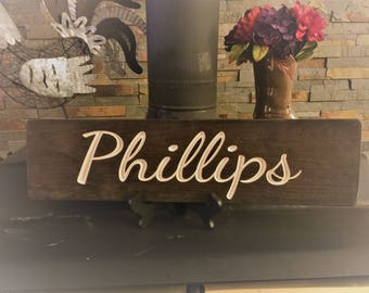 Family Name Sign | Custom engraved name sign | Personalized Sign | Rustic Wooden Sign