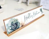 "Custom Succulent Nameplate ""Hadley"" - Personalized Desk Name Plate Sign Decor - Office Accessories - Modern Office Supplies"