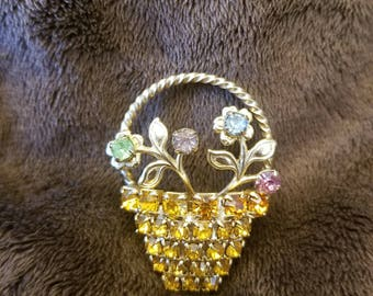 Rhinestone flower basket brooch