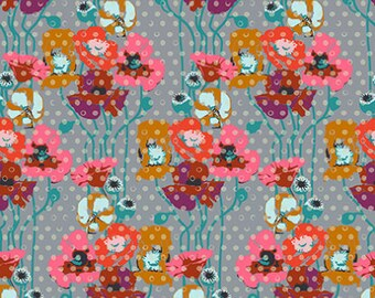 Floral Retrospective Fabric ~ Raindrop Poppies Platinum ~ by Anna Maria Horner for Free Spirit Fabrics