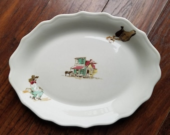 Syracuse China COWBOY WESTERN Restaurant Ware Dinner Platter 1954