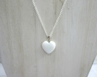 White Stone Heart Pendant Necklace