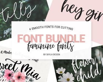 Font Bundle, Modern calligraphy font, Silhouette fonts, handwritten fonts, wedding font download, Digital fonts, handwritten fonts, fun font