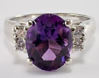 14k White Gold Amethyst and Diamond Ring, Vintage Ring, Estate Jewelry, Amethyst Ring, February Birthstone, Vintage Jewelry