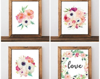 ON SALE Floral Nursery Decor - Watercolor Nursery Art - Anemone Nursery - Girls Nursery Prints - Pink Nursery - Digital Download 8x10 - Set