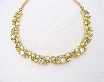 Vtg Lisner Necklace Jonquil Yellow AB Rhinestone Necklace 1960's