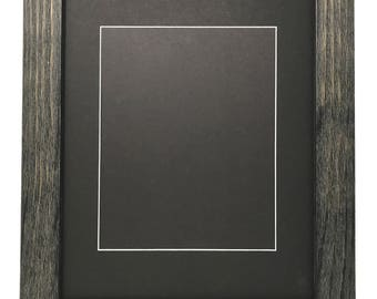 "16x20 1.75"" Rustic Black Solid Wood Picture Frame with Black Signature Mat Cut for 8x10 Picture"