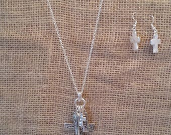 cross cluster necklace and earring set