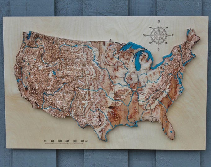 "3D terrain wooden map of USA 16"" x 24"""