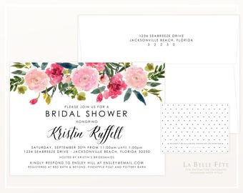 BRIDAL SHOWER / Bridesmaids luncheon invitations with watercolor floral poppies in blush and pink, with black dots