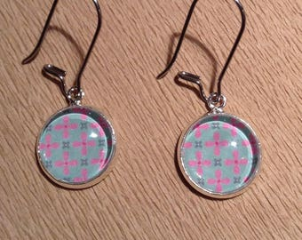 Earrings cabochon 12 mm pink and blue flowers
