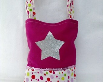 Mini Tote bag for child / pink and polka dots