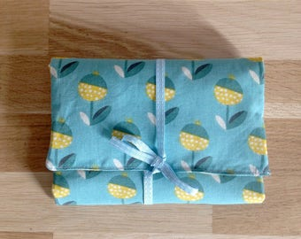 Pouch / clutch made of fabric flowers - blue and yellow