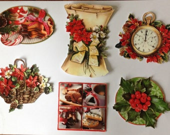 3D Christmas patterns, set of 6 images, handmade, ready to be used for cards, scrapbooking