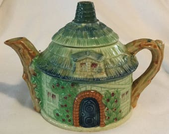 Antique Figural Elf Cottage House Teapot Made in Japan