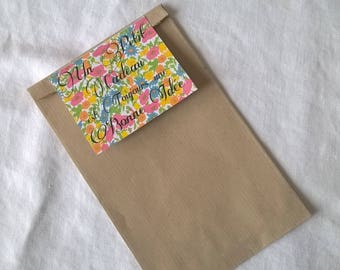 """Gift bag tag liberty and inscription """"a little gift is always a good idea"""" multicolor"""