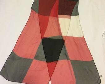 Vintage 100% Silk Red Black and White Italian Ponytail Scarf