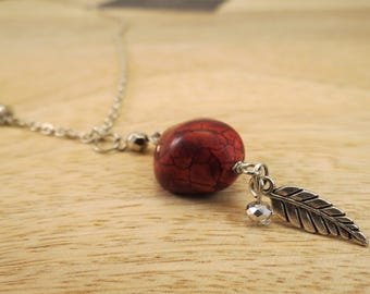 Red Howlite Stone Long Silver Pendant Necklace   silver necklace, long necklace, stone pendant, howlite pendant, statement necklace