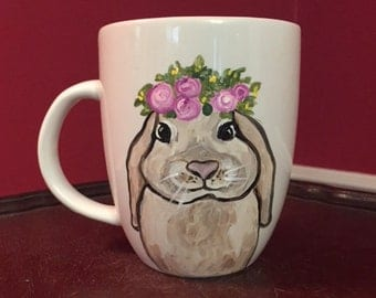 Bunny Coffee Mug, Bunny Mug, Easter Bunny Mug, Bunny Art, Rabbit Art, Whimsical Bunny Art, Whimsical Bunny Mug. Art by Ana Peralta