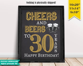 Cheers & Beers to 30 Years, 30th Birthday Chalkboard Poster Sign, Beer Party Sign Decor, Instant Download Digital Printable File - CH024