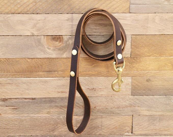 Dog leash, Leather leash, Handmade leash, Pet gift, Cocoa leather leash, Leash, Solid brass hardware, Strong leash, Leather lead