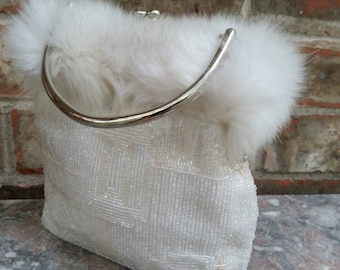 Iridescent White Beaded Evening Bag with White Fur Decor * Silver Frame
